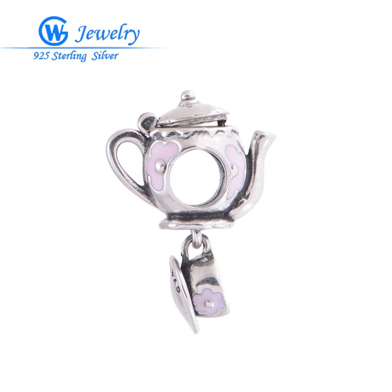 Teapot with cup Pink Enamel Charms fits Sterling Silver 925 Love Bracelet Charms alibaba Wholesale GW Fashion jewelry S072H10