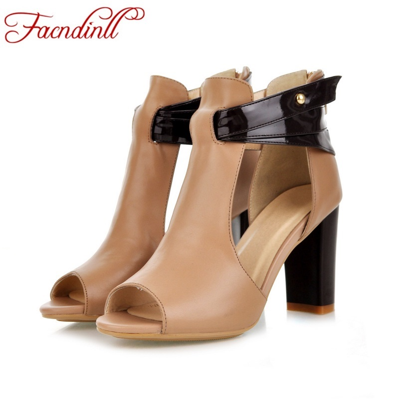 ФОТО classic design leather shoes woman pumps thick high heel rome shoes sexy high heels open toe women party casual shoes for women