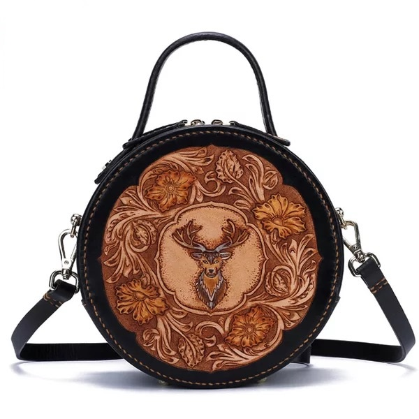 62dedbc9a4b US $175.27 32% OFF|Unique Engraved Designer Ladies Circular Handbag 100%  Handmade Genuine Cow Leather Carved Female Cross Shoulder Bag For Women-in  ...