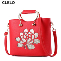 CLELO Brand Women Handbag high quality PU Hollow Out  Flower Women Messenger Bags Tote Bags for Ladies