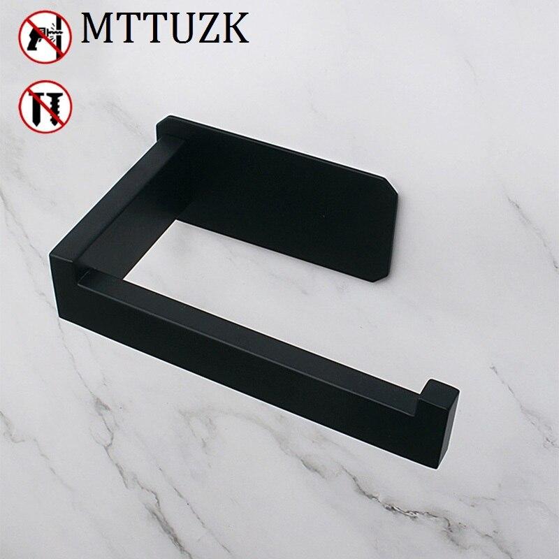 Self-Adhesive Toilet Paper Holder 304 Stainless Steel Matt Black Roll Holder Mounted Bathroom Tissue Hanger WC Paper Holder