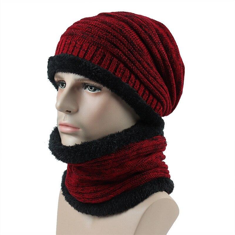 FASHION Boys Men Winter Hat Knit Scarf Cap Men suit Hats Warm Fur   Skullies     Beanie   Bonnet Hat dad cap Cotton Hat Knitting