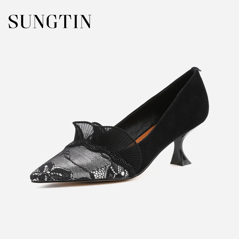 Sungtin Fashion Pointed Toe Lace Ruffles Women Pumps Black High Heel Shallow Slip-on Party Shoes Handmade Thin Heel Ladies Shoes