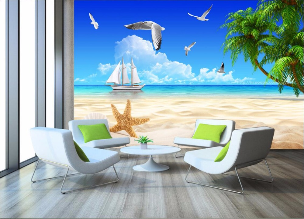 3d room wallpaper custom mural blue sky the sea beach for Custom mural painting