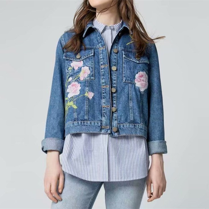 Autumn Winter Women Floral Embroidery Denim Coat New Fashion Short   Basic     Jacket   Solid Ladies Long Sleeve Slim Outerwear