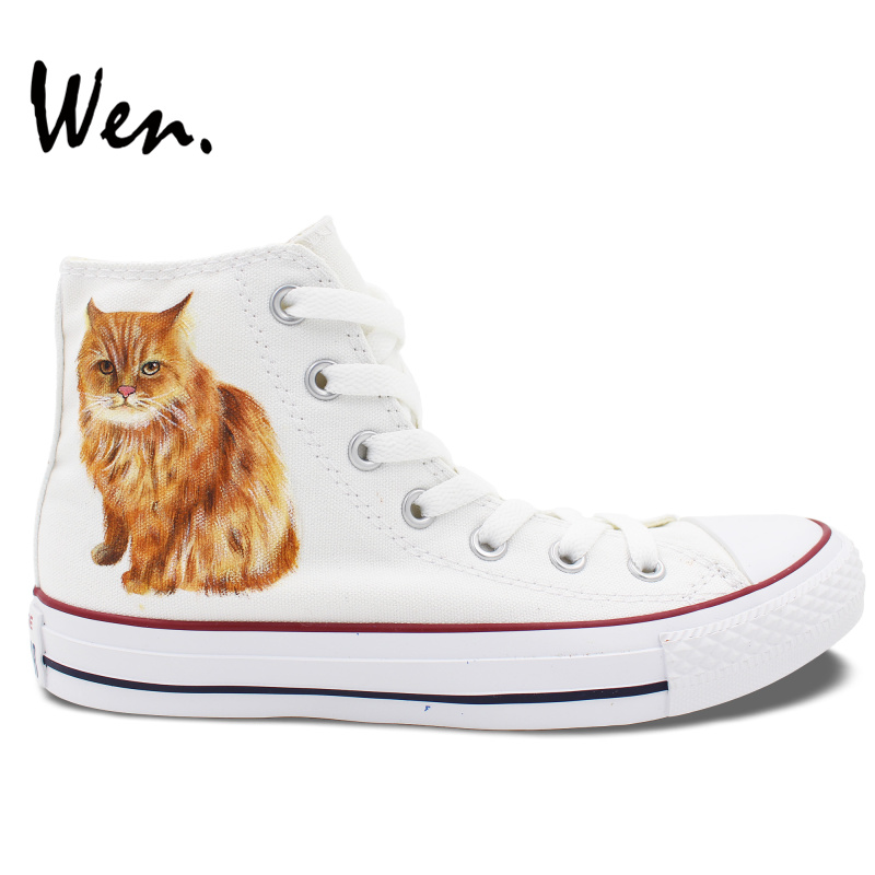 ФОТО Wen Design Custom Men Women's Hand Painted Shoes Pet Cat High Top White Canvas Sneakers Gifts for Girls Boys