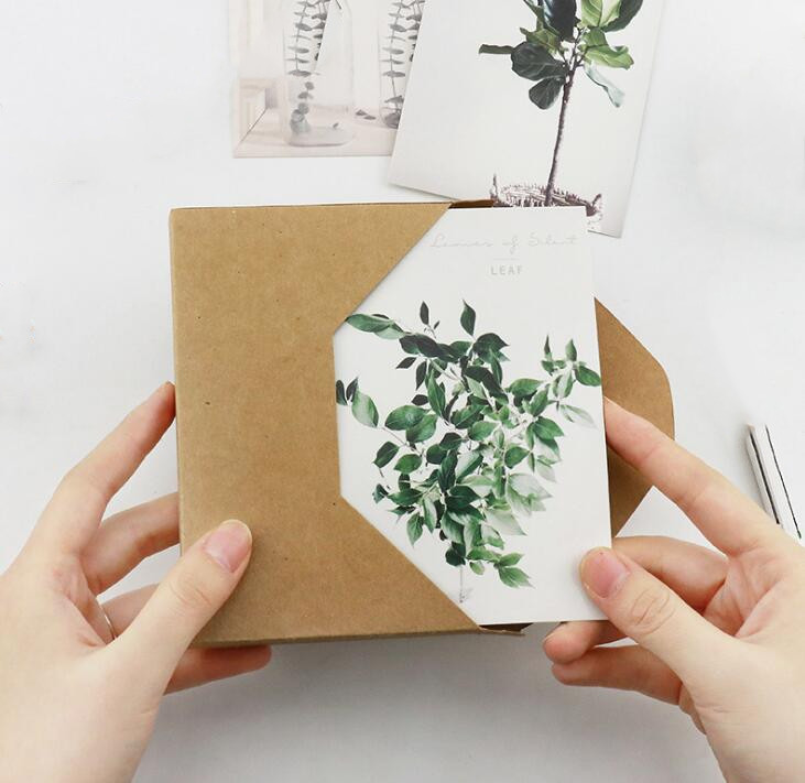 30 Pcs/pack Cute Leaves Of Silent Postcards Leaf Plant Style Note Card Postcard Gifts Bookmark