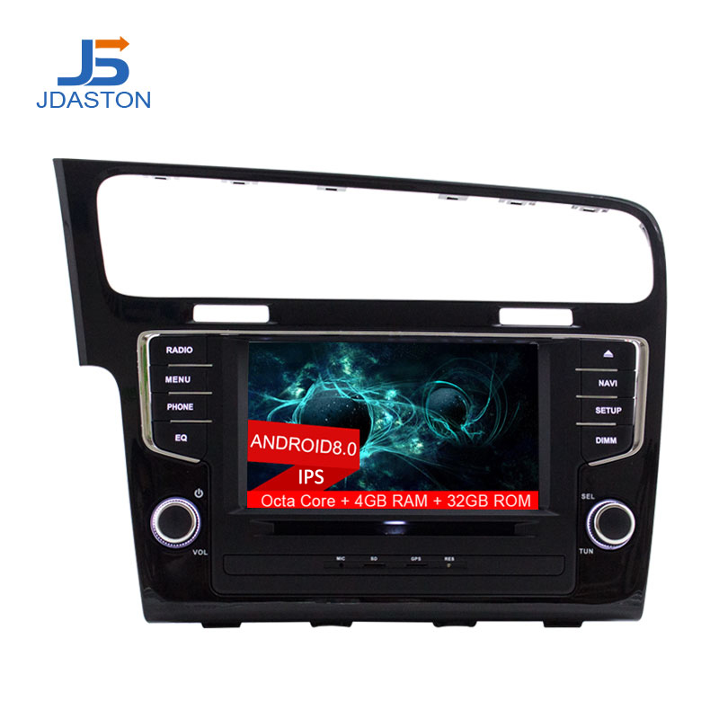 JDASTON 1 din 8 Inch ANDROID 8.0 Car DVD Player For Volkswagen VW Golf 7 2013-2017 4G Multimedia GPS Radio Navigation Headunit jdaston 1 din 7 inch android 6 0 car dvd player for peugeot 207 multimedia video wifi gps navigation radio stereo steering wheel