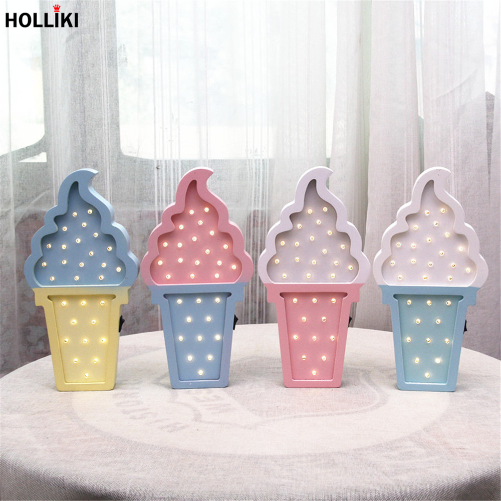 LED Ice-cream Shape Wood Night Light Nordic Chic Colorful Night Lamp For Baby Bedroom Christmas Decor Kids Gift Battery Powered 3d christmas snowman shape touch colorful night light