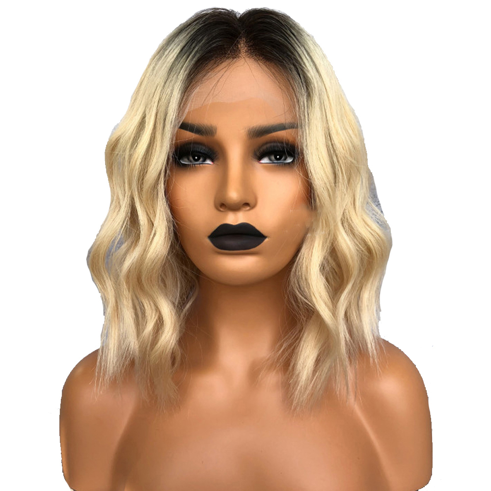 Atina Queen Short Bob Cut Human Hair Wigs For Women 1b 613 Black Root Ombre Blonde