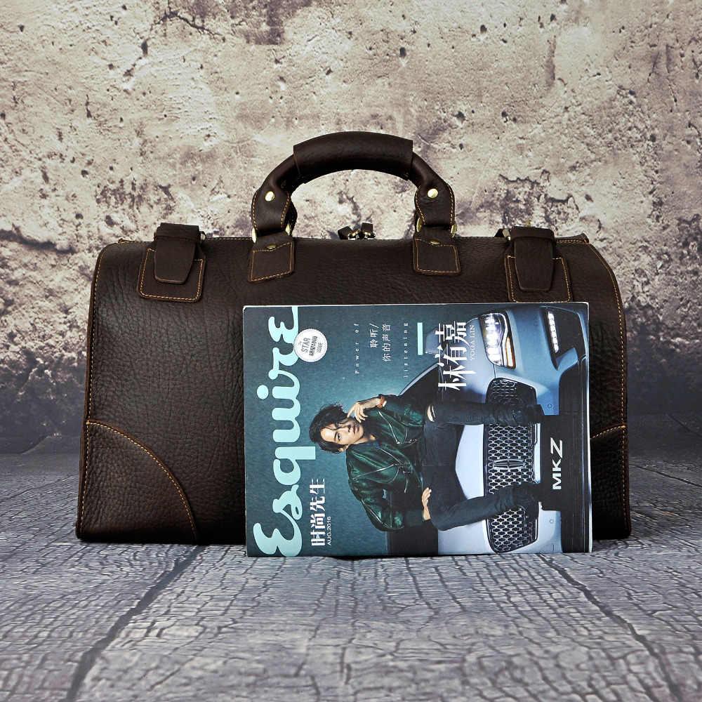 Качественная мужская кожаная сумка Crazy Horse, большая вместительность, Ретро дизайн, сумка для багажа, модная сумка для путешествий, сумка-тоут 8151w