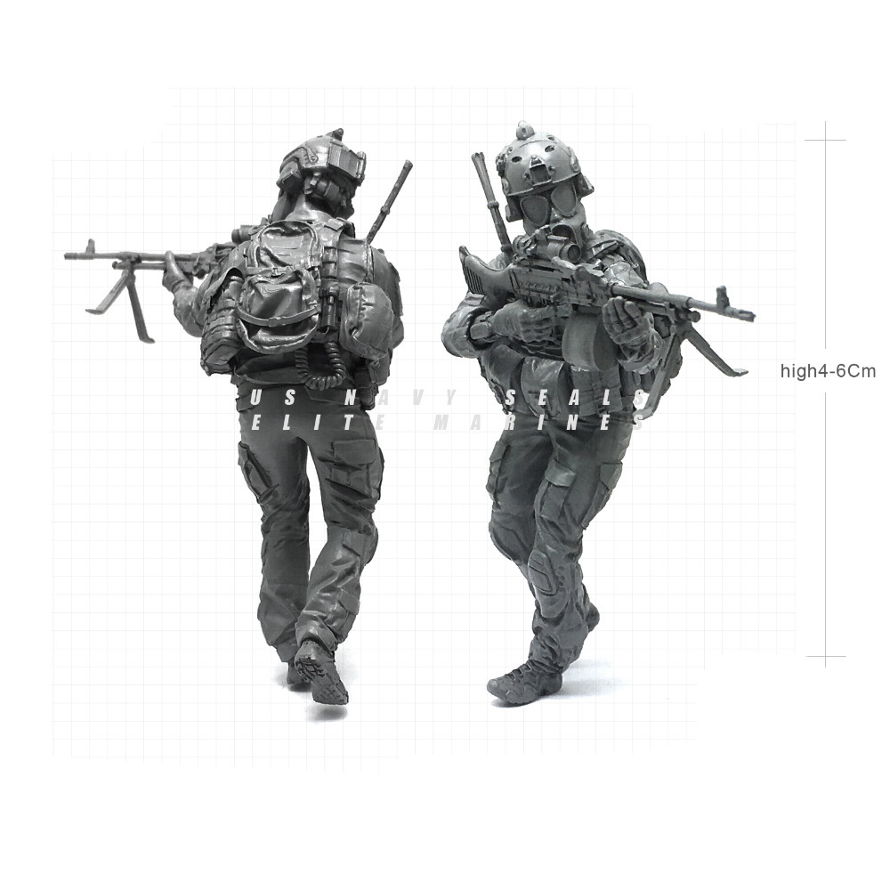 1/35 Modern U.S Navy Seals Elite Marines Biochemical Machine Gunmen Military Soldier Res ...