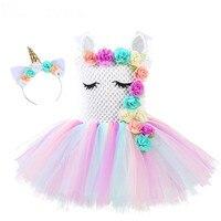 Rainbow Unicorn Pony Tutu Dress with Hair Hoop Princess Flower Girls Party Dress Children Kids Halloween Unicorn Costume 2 10Y