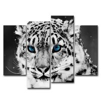 BANMU 4 Piece Wall Art Painting Blue Eye Snow Leopard Prints On Canvas The Picture Animal