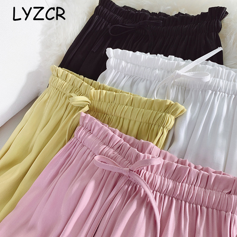 Lyzcr Causal Women's Wide Leg Pants Female Summer White Loose Satin Silk Pants Women Elastic Waist Trousers Wide Leg 2019