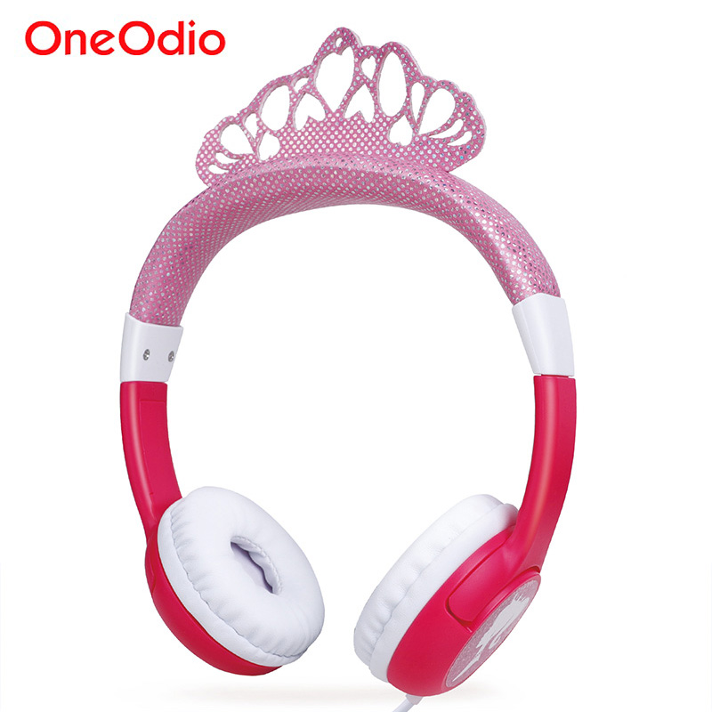 Oneodio Cute Cartoon Frozen Headband Headset Bling Princess Crown Kids Headphones For Girls Children Gaming Earphone Pink/Blue crown headband cute lace flower hair band photo props 1st birthday headband princess glitter crown birthday crown
