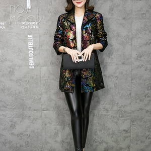 Image 2 - Multi color floral print black genuine leather trench coat real lambskin leather coat outwear plus size casacos LT1892 FREE SHIP