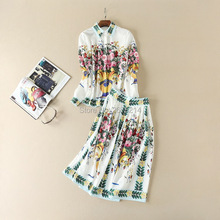 2017 Spring/Summer Runway floral print shirt dress fashion woman's A-line spring dress