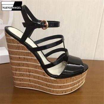 2019 High Quality Sandals Women Wedges Shoes Pumps High Heels Sandals Summer Shoes Genuine Leather Ladies Buckle Platform Sandal