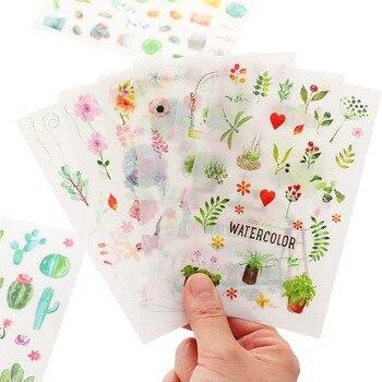 Pegatinas de papel para diario Kawaii, 6 hojas, flores románticas, plantas, decoración Diy para álbum de recortes, etiquetas, pegatinas sello papelería