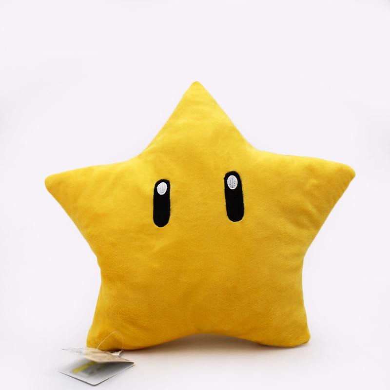 Free Shipping 1PCS Super Mario Bros Plush Toys Cute Cartoon Yellow Star Soft Stuffed Doll Pillow Kids Gift Approx 30cm/12inch