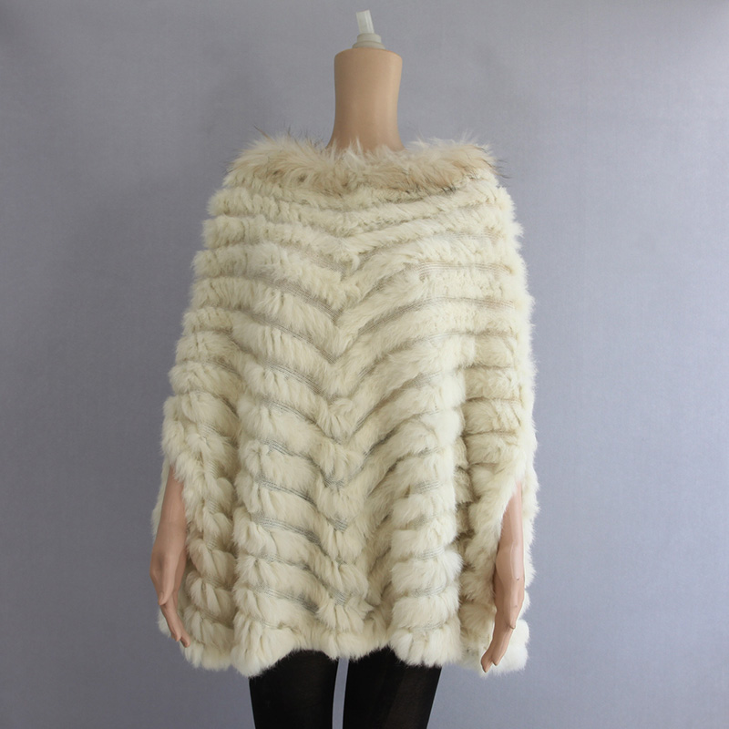 2018 Fashion Women Knitted Real Fur Poncho Pullovers Casual Raccoon Fur Collar Rabbit Fur Capes Coats Natural Fur Wraps Shawls