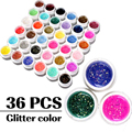 36 Colors Sequins Glitter LED UV Nail Gel Long Lasting Gel Lacquer DIY Nail Art Colorful Nail Gel UV Gel Set UV LED Lamp Curing