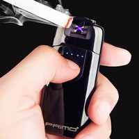 LED Screen Dual Arc USB Lighter Rechargeable Electronic Lighter Cigarette Accessory Plasma Induction Palse Pulse Thunder