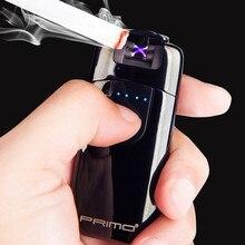Светодиодный экран с двумя дугами USB Зажигалка перезаряжаемая Электронная зажигалка аксессуары для сигарет плазменная индукция пальса импульсный гром зажигалка
