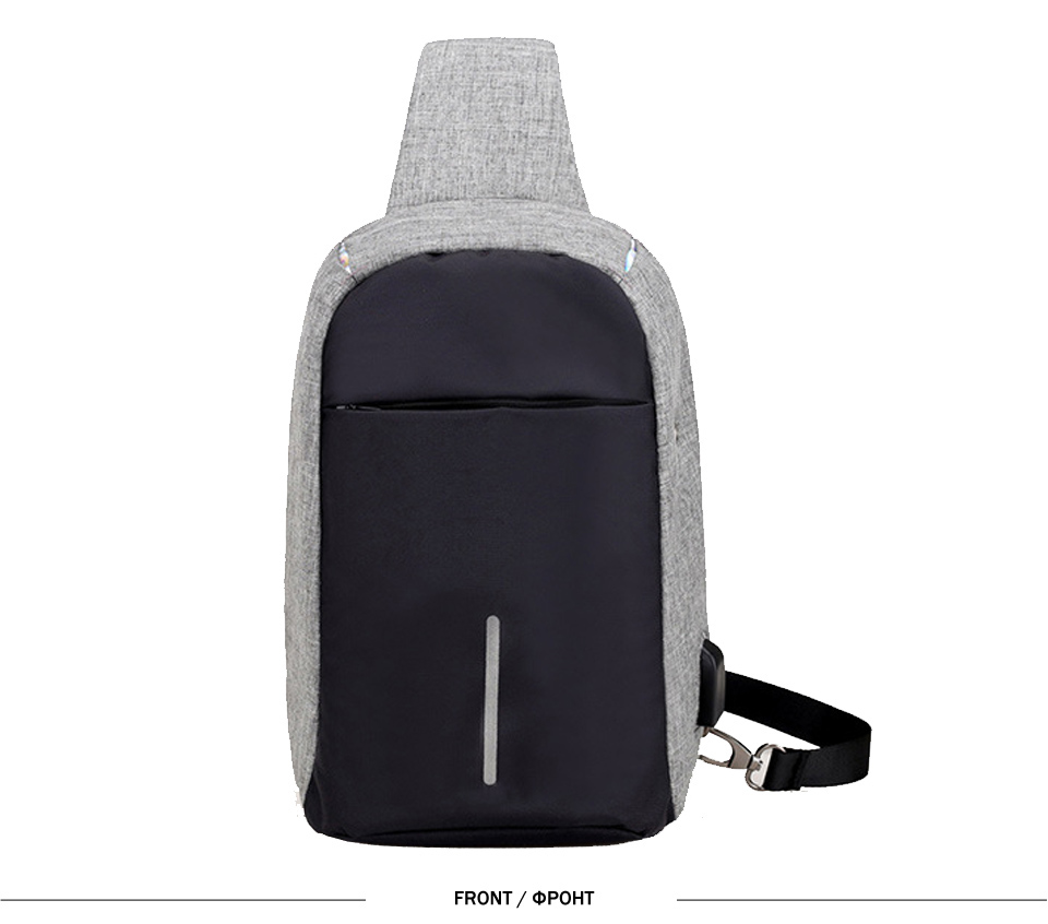9c83863691d9 Anti-theft USB Charging Chest Bag With Reflective Strip Travel Men Shoulder  Bag Has Headphone Hole Daily Male Messenger Bags