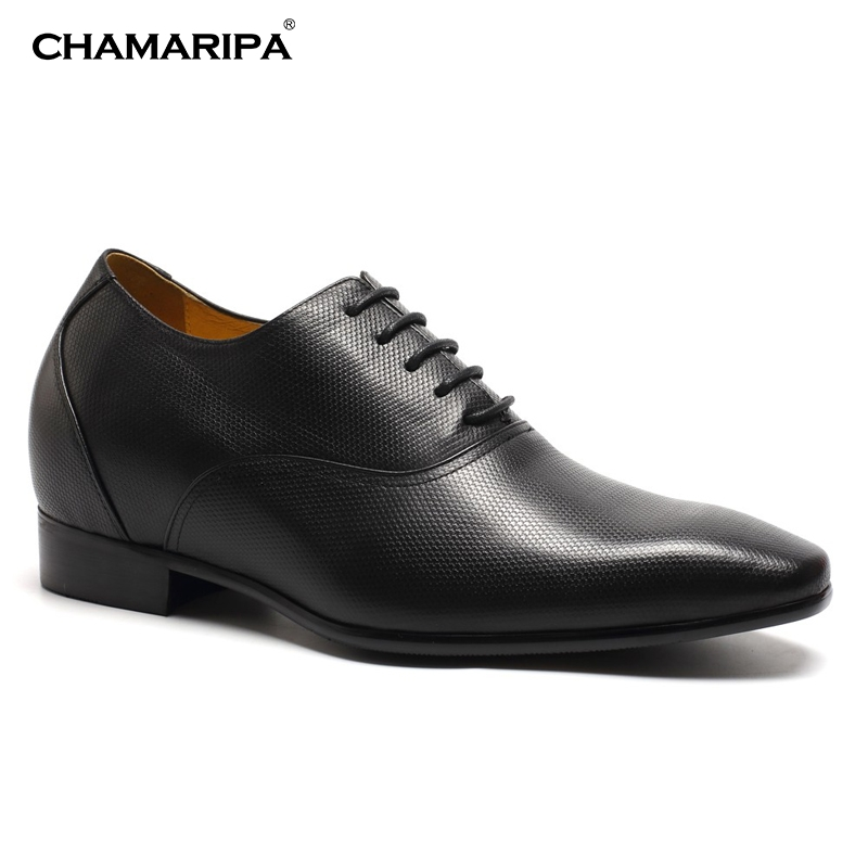 CHAMARIPA Increase Height  7.5cm/2.95 inch Men Elevator Shoes Stylish Classy Shoes Tall  Black Hidden Height Increasing K4020 chamaripa increase height 7cm 2 76 inch elevator shoes increase height shoes men business formal black shoes