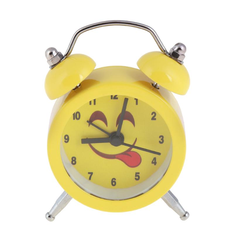 Cute Expression Cartoon Round Bedroom Bell Alarm Clock Home Quartz Clock Function Alarm Clocks for Kids birthday New Year gifts
