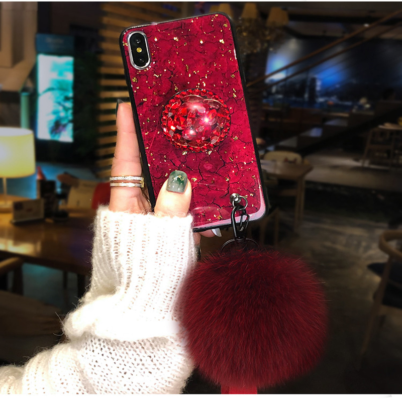 Gold Foil glitter Marble phone case with cute Hair ball Diamond Bracket For Xiaomi Redmi Note 7 6 5 K20 pro 5a 4x S2 Cover Cases in Fitted Cases from Cellphones Telecommunications