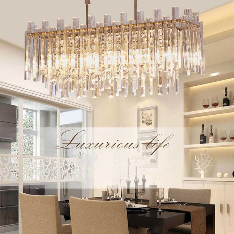 Современная хрустальная люстра для столовой прямоугольник дома декоративный предмет со светодиодной подсветкой хрустальные люстры Manggic освещения