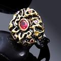 Золотой Черный цвет Большой Цветок Хороший Дизайнер Кольца Для Женщин Сиам Красный камень Кубического Циркония Панель Настройки Заявление Коренастый Кольцо