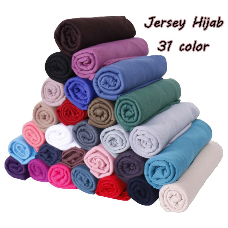 Jersey Scarf Cotton Plain Elasticity Shawls Maxi Hijab Long Muslim Head Wrap Long Scarves/scarf 10pcs/lot 31 Color
