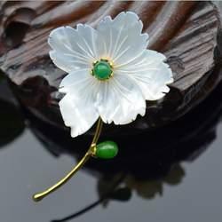 Amxiu индивидуальные натурального Мать Shell Зеленый Халцедон Украшения Позолоченные Броши Булавки Изысканный маленький цветок брошь подвеска