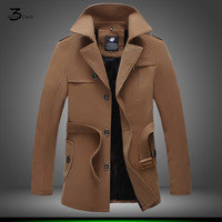 XMY3DWX male winter fashion high grade single breasted trench coat/Male pure color cashmere hooded jacket Large size long coat