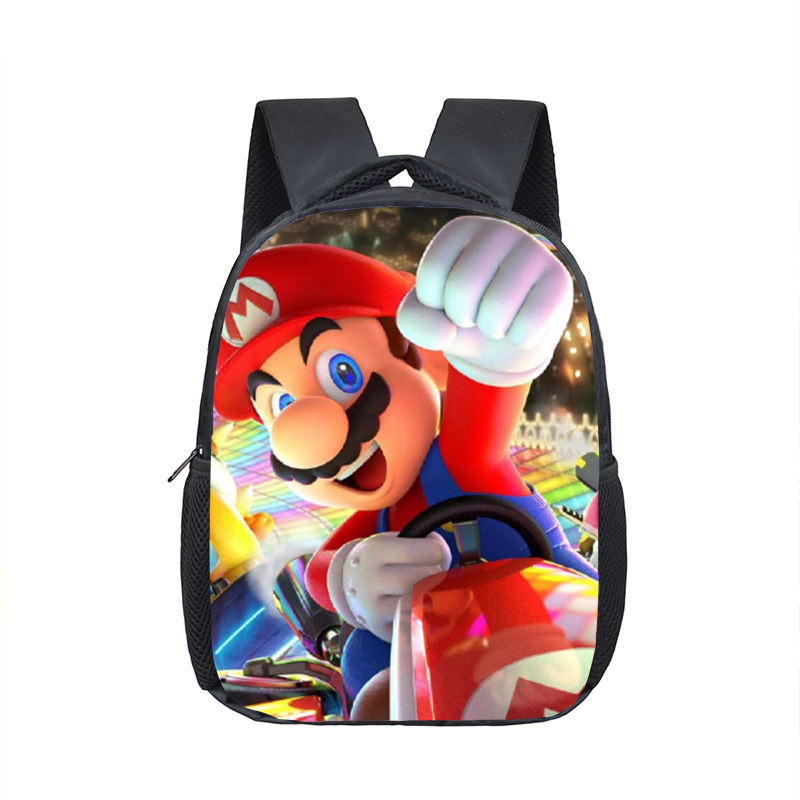 12 Inch Mario Bros Sonic Kindergarten Infantile Small Backpack For Kids Baby Cartoon School Bags Children Gift