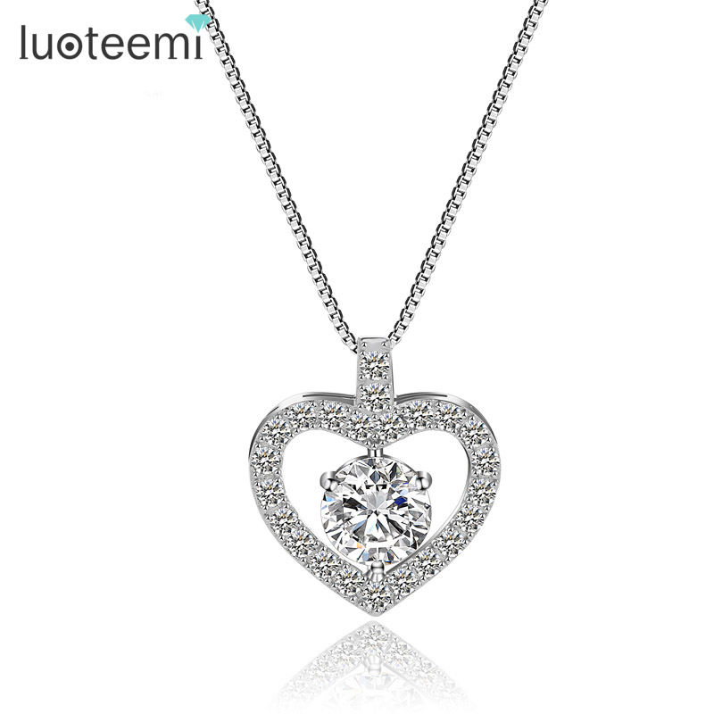 LUOTEEMI Romantic Cubic Zirconia Heart Shape font b Pendant b font Real 925 Sterling Silver font