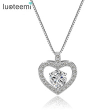 LUOTEEMI Romantic Cubic Zirconia Heart Shape Pendant Real 925 Sterling Silver Necklace For Trendy Wedding Women Gift Jewelry