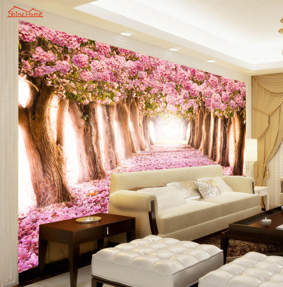 Flowers Wall Wallpapers Design For Your Bedrooms Decorating: Pink Floral Flower Forest Road 3D Room Wallpaper Landscape