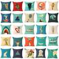 Funda de cojín Cojín Animal de La Historieta Divertida Jirafa Throw Pillow Bird Dog Owl Flower Cojín Vintage Decotrative Cubierta de Almohadas
