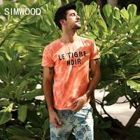 SIMWOOD T Shirt Men 2017 Summer New Fashion Tie Dye Letter Fashion 100 Pure Cotton Tops