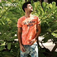 SIMWOOD T Shirt Men 2017 Summer New Fashion Tie Dye Letter Fashion 100 Pure Cotton Tops