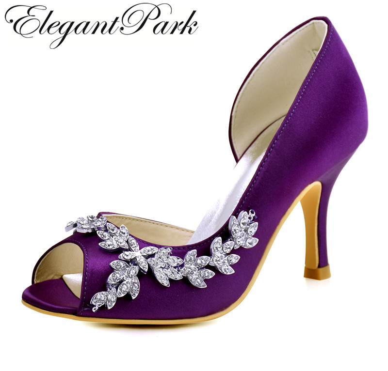 Woman Wedding Shoes High Heel Purple Pink Ivory Peep Toe Rhinestone Satin Bridesmaid Lady Bridal Prom Dress Evening Pumps HP1542