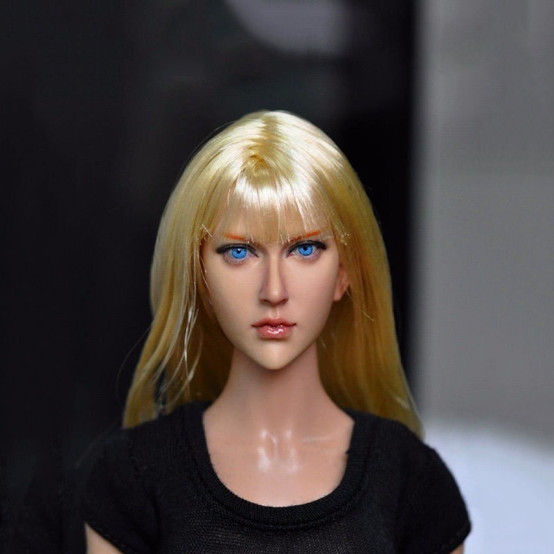 ФОТО 1/6 Blond Hair Female Head Sculpts Model Toys Popular Girl Head Carving 13-90 For 12