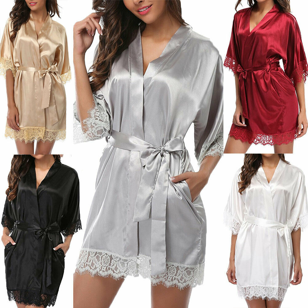 2019 Fashion Sexy Women's Robe Lace Silk Satin Robes Wedding Bridesmaid Bride Gown Kimono Solid Robe