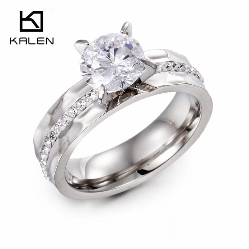 Kalen Wholesale Fashion Rhinestone Women Antique Stainless Steel Rings Graceful Delicate Zircon Glass Rings New Finger Rings
