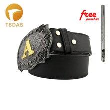 Роскошный ковбойский ремень с пряжкой в стиле ретро с буквенным принтом, ремень с пряжкой на голову для 3,8-4 см, широкий ремень, подарки на год